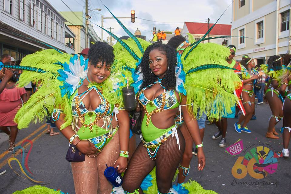 Antigua Carnival two in green and blue