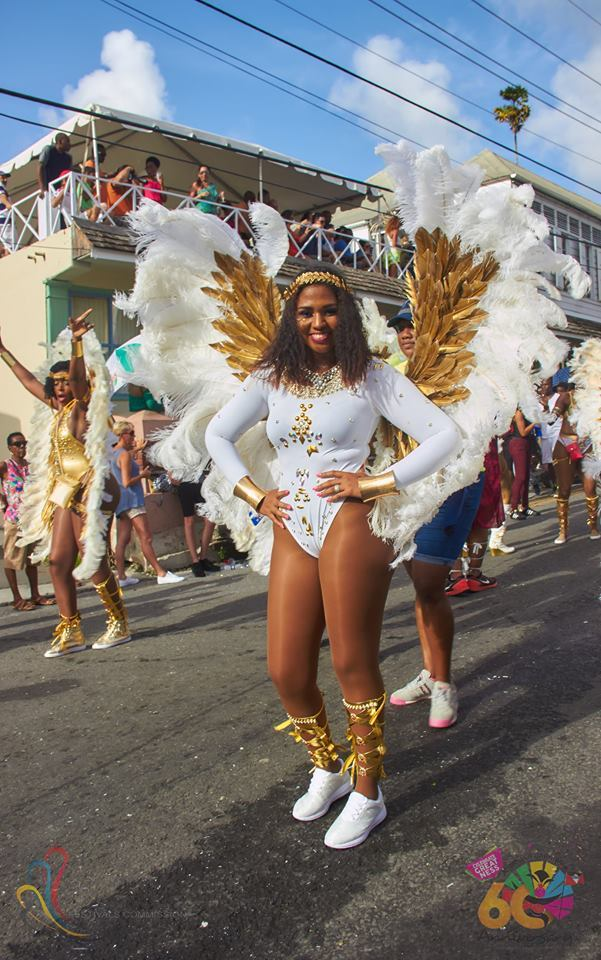 Antigua Carnival white and gold one piece wings