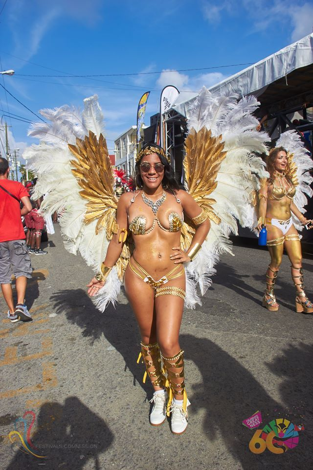 Antigua Carnival white and gold wings