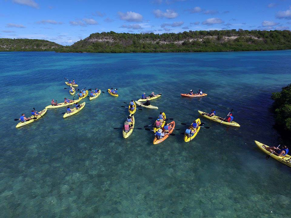 Antigua Paddles group on the water