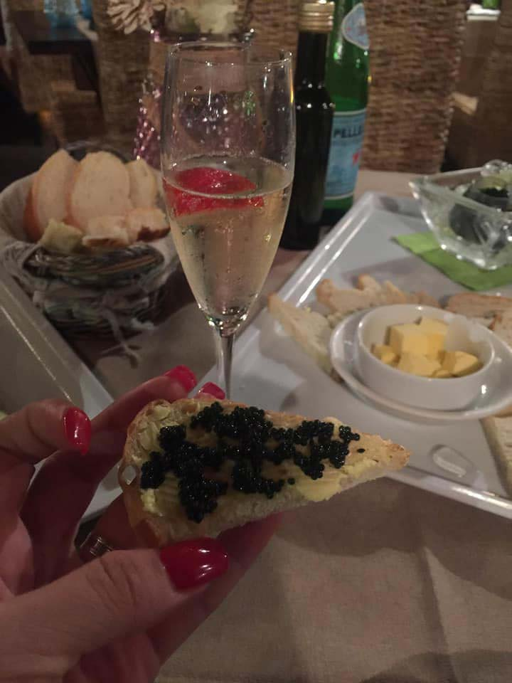 Basilico caviar and bubbly