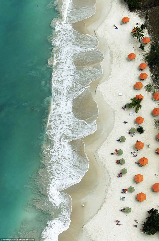 Carib House beach aerial