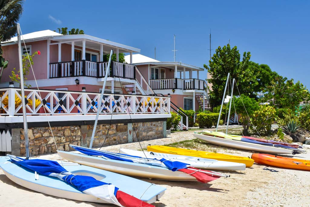 Catamaran Hotel exterior with mini sailboats
