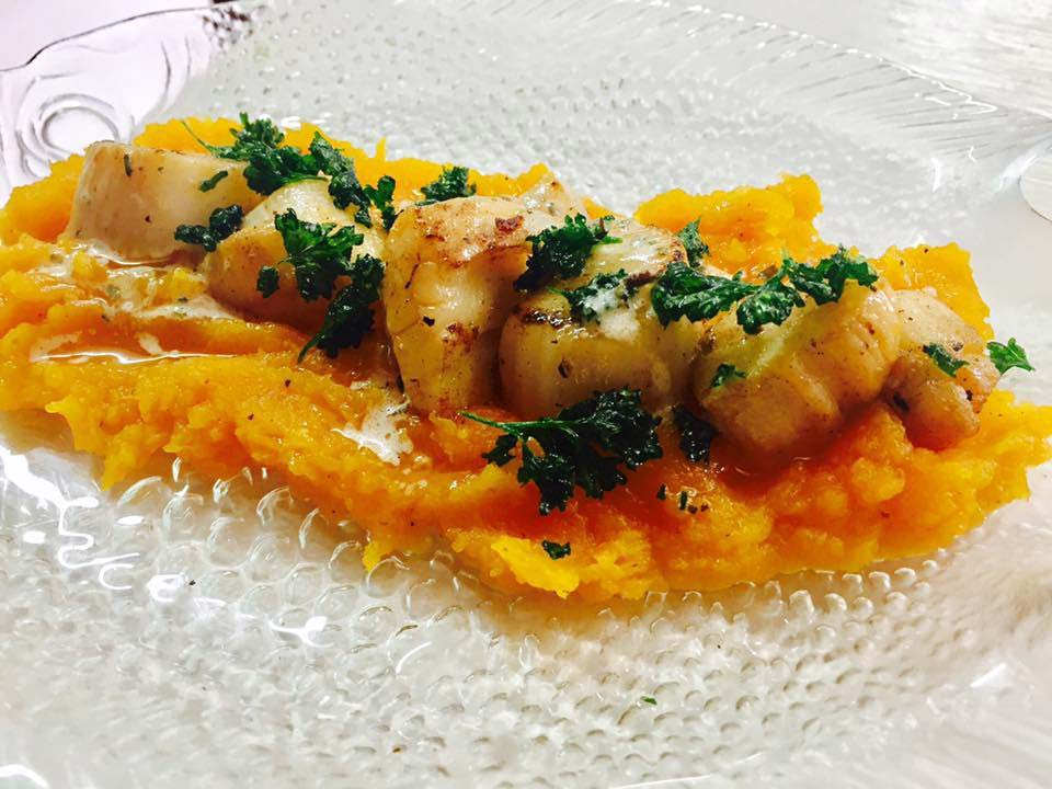 Cutie's scallops and pumpkin