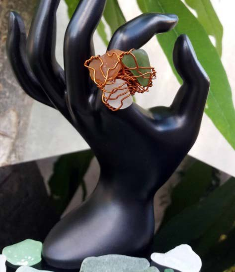 Embellish 3-stone and copper-wire ring
