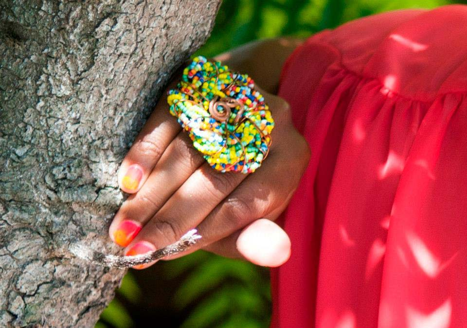 Embellish bright colorful beaded ring