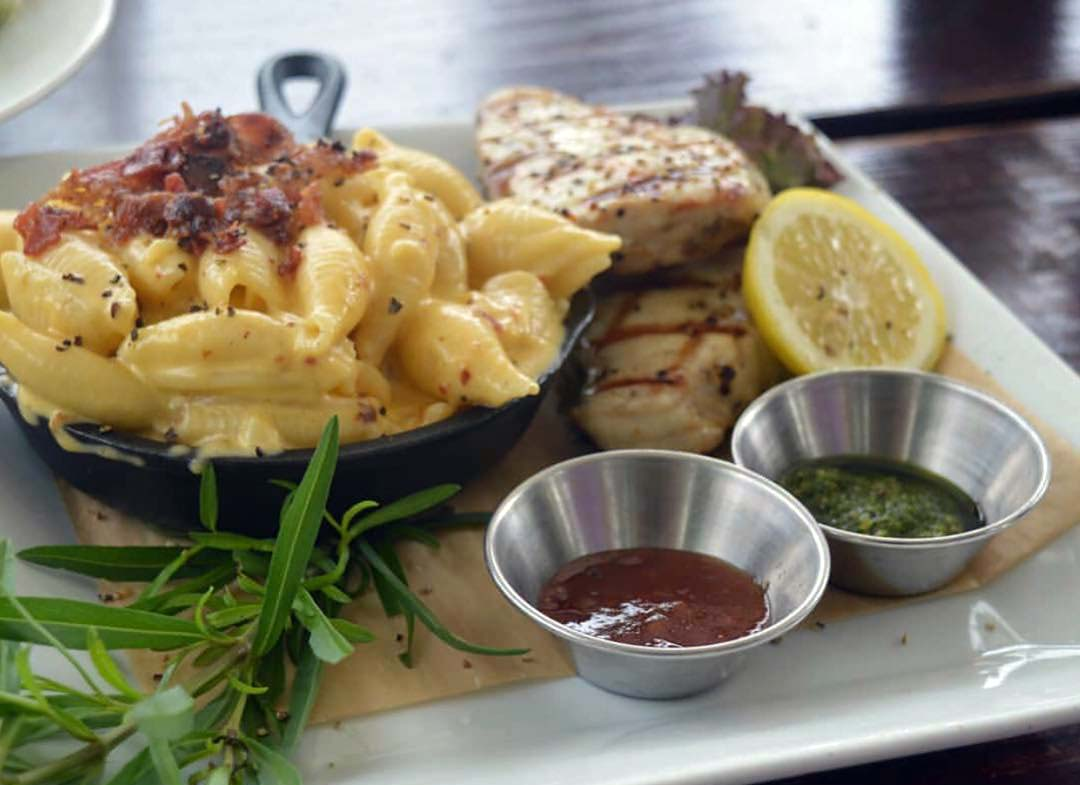 Garden Grill bacon mac n cheese with fresh catch