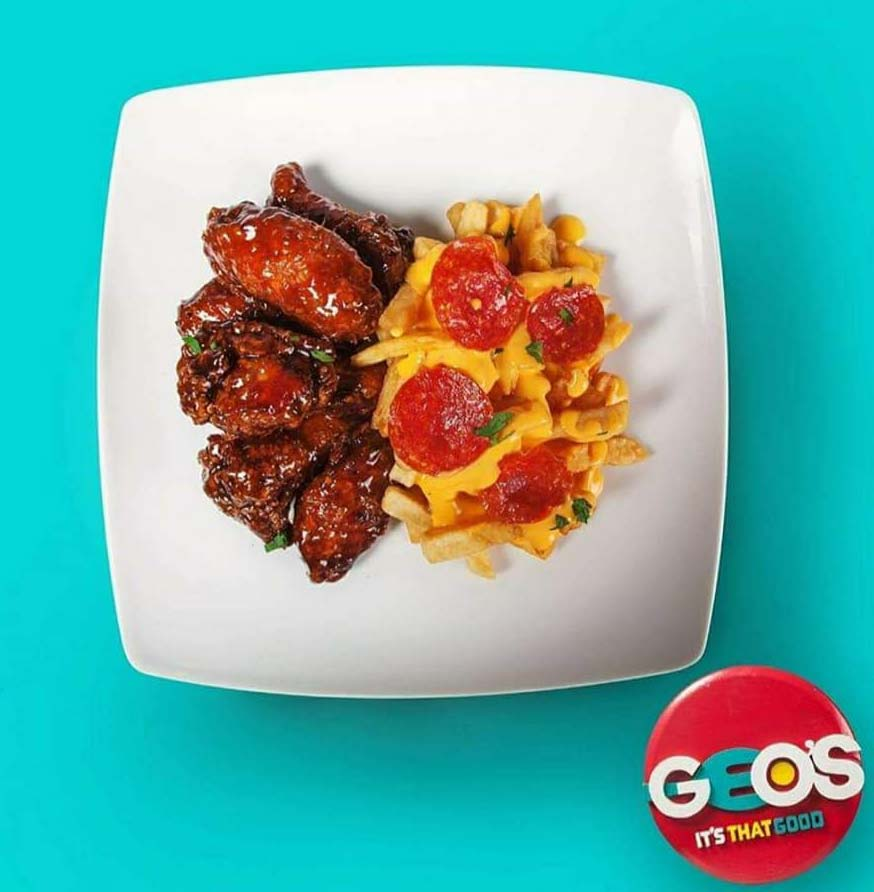 Geo's wings and pepperoni fries
