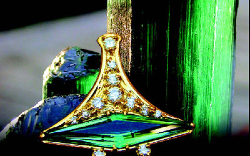 Goldsmitty blue green and diamonds