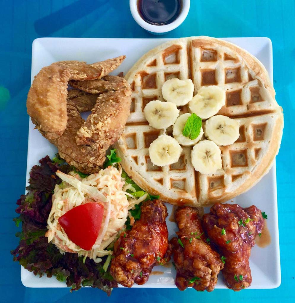 Island Fusion spicy chicken wings and waffles