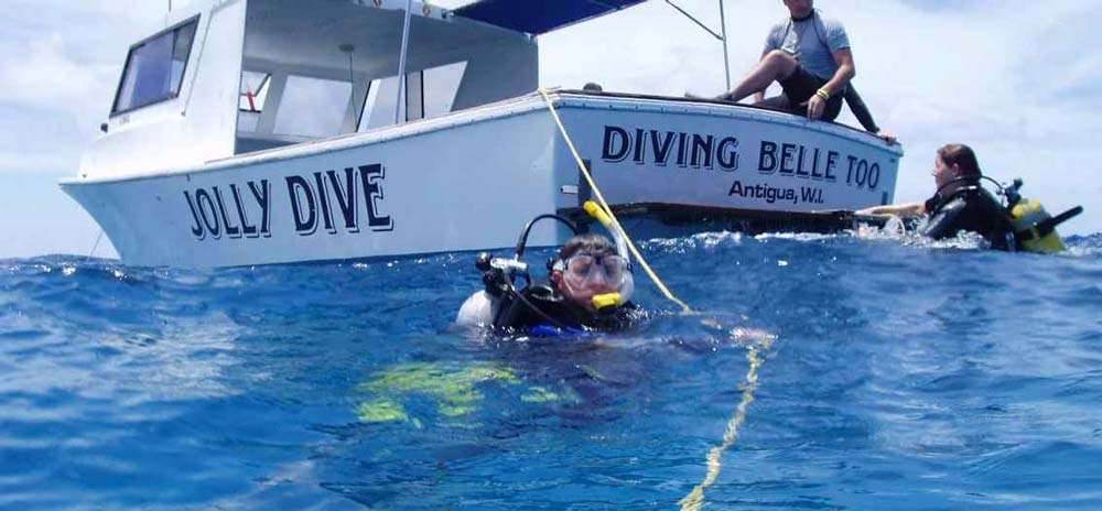 Jolly dive boat on the surface