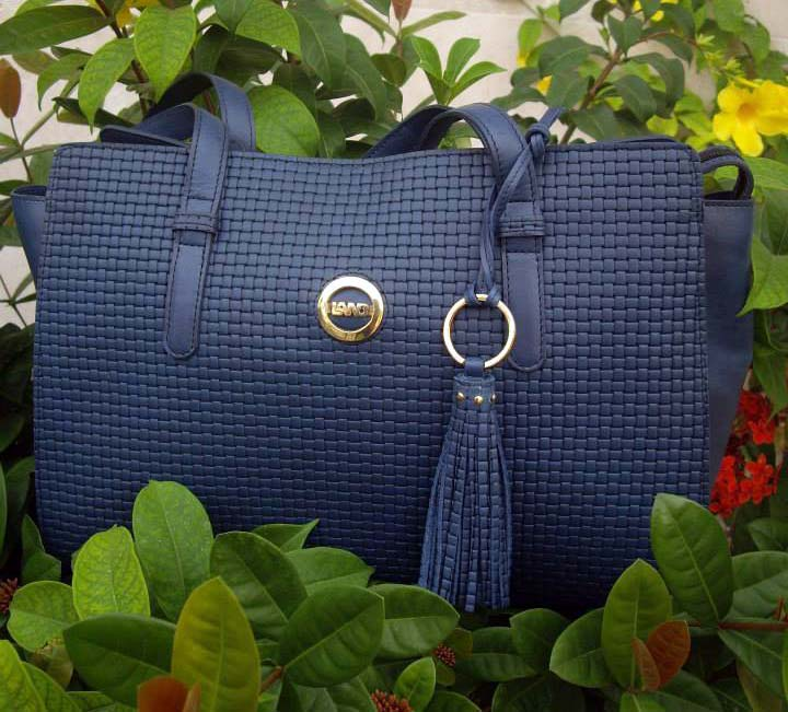Land Leather blue woven bag