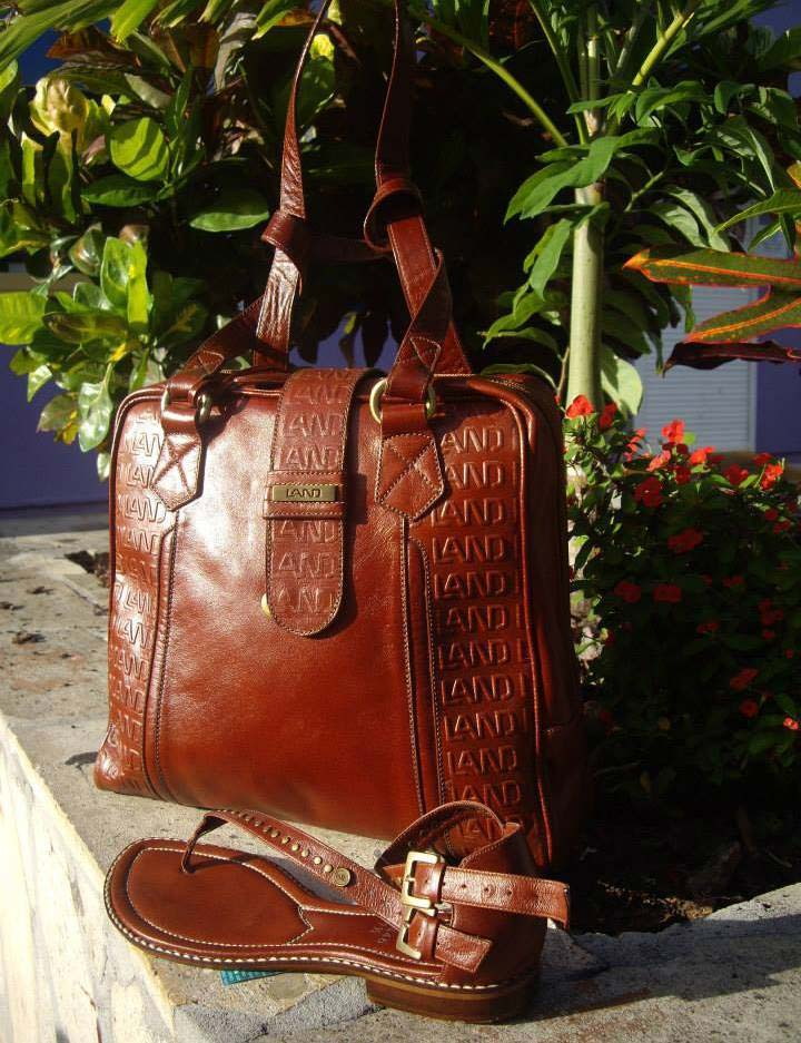 Land Leather burnt orange bag and shoe