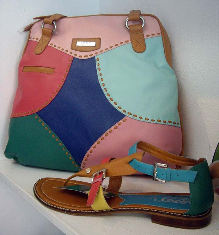 Land Leather multicolor patchwork bag and shoe