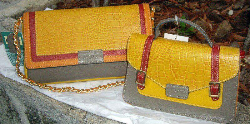 Land Leather yellow and gray bags