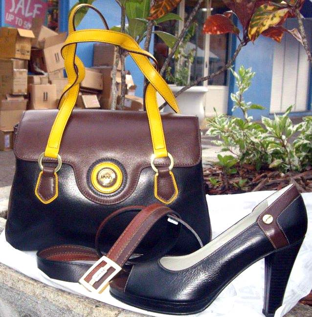 Land Leather yellow strap bag and shoe