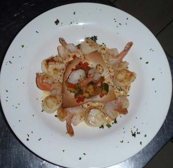Le Cap Horn nage of shrimp in anis seed sauce
