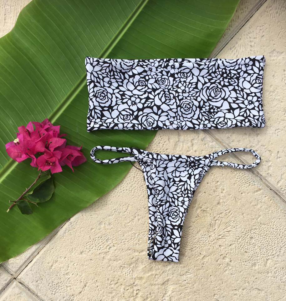 Makai black and white flower print bikini with tube top