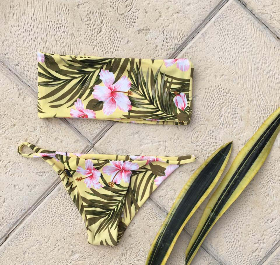 Makai yellow flower print bikini with tube top