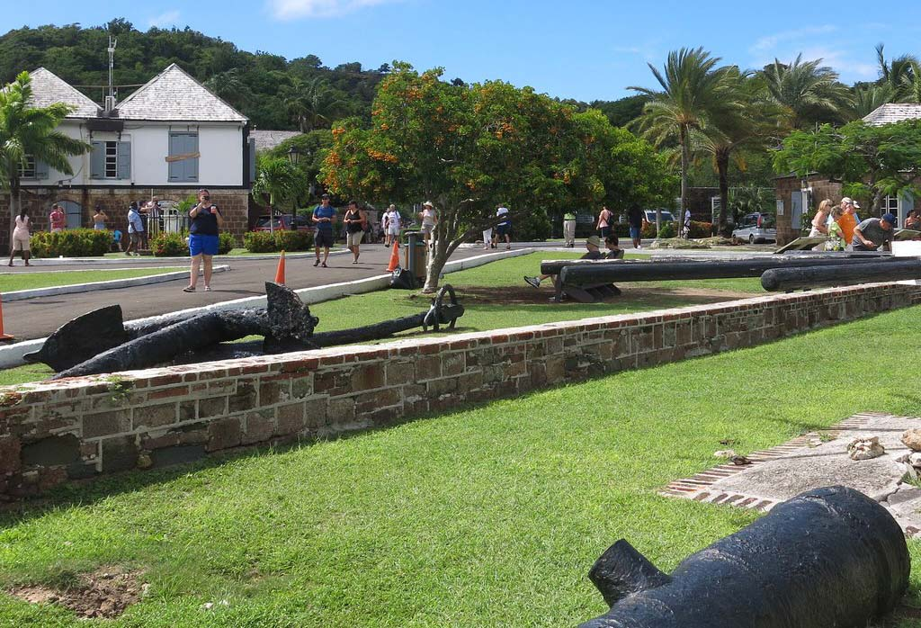 Nelson's Dockyard cannons and tourists