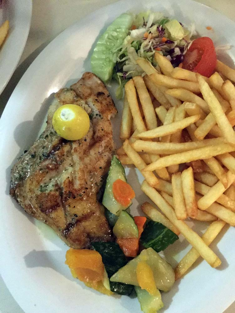 OJ's grilled fillet snapper with fries