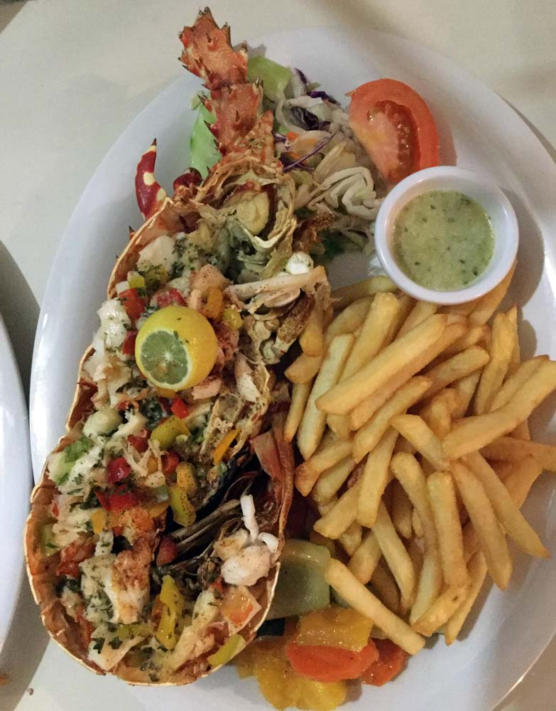 OJ's grilled lobster with fries