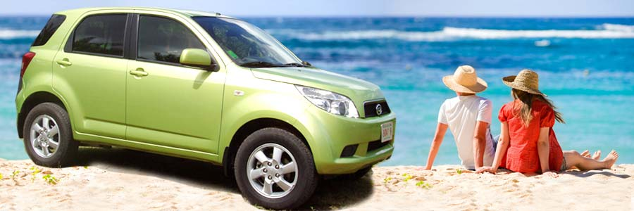 Tropical Rentals car on beach