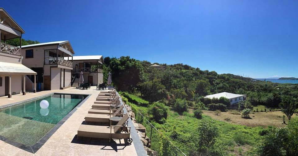 Vine Cottages pool with view