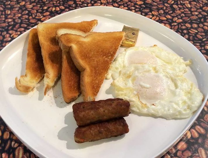Cafe Bella eggs, sausage and toast