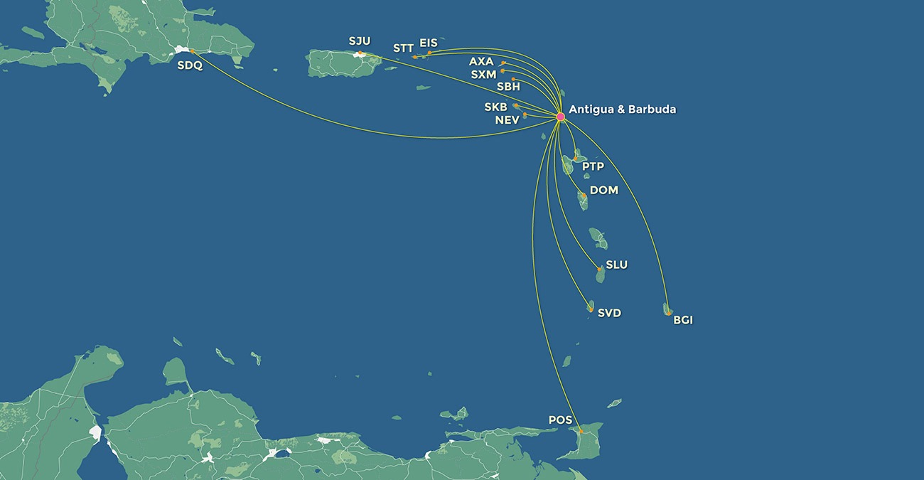 Caribbean flights map clean